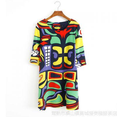 2014新款 欧美风时尚流行彩绘图案 宽松大码A字连衣裙G8-803