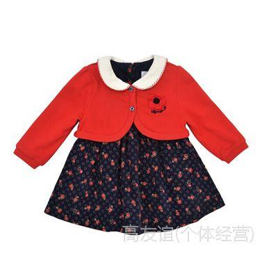 XQ14 韩国alfonso 纯棉女宝红色披肩+长袖连衣裙套装原单
