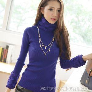 供应2013秋冬韩版甜美蕾丝堆堆高领纯色打底衫毛衣女1607