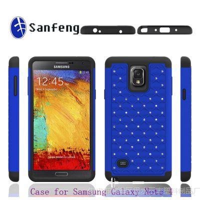 【无线订货】三星手机壳 note4 PC硅胶满天星镶钻手机保护套