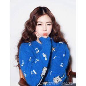 供应韩国原单仿羊绒兔毛重工串珠音符毛衣 大款毛衣 原单羊绒衫