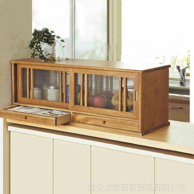 蔬菜柜实木餐边柜 日式 厨房收纳柜 透气窗纱菜柜实木