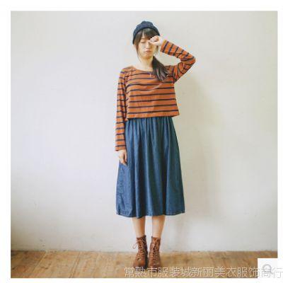 2014秋装新款 条纹上衣+背心牛仔连衣裙长裙两件套06373