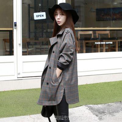 现货  2015春装新款韩版定制款纯棉宽松英伦格子风衣外套女 611