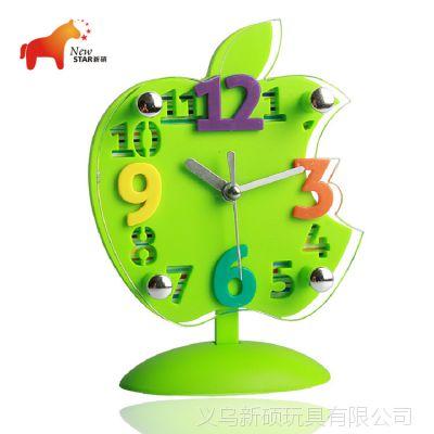 厂家直销 透明立体苹果钟 简单立体数字座钟