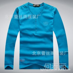 供应2014批发春夏新款战地吉普AFSJEEP男装长袖t恤衫v领纯棉打底衫