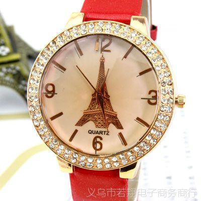 带镶钻巴黎埃菲尔铁塔皮带大表盘 休闲手表女款时装表 厂家批发