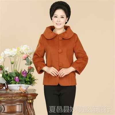 新款中老年毛呢外套女中年女装短款呢大衣妈妈春秋装外套上衣