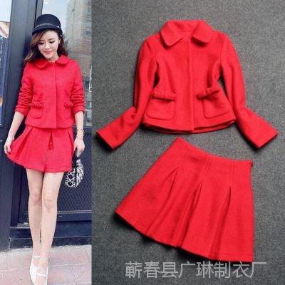 欧美女装 娃娃领口袋钉蝴蝶结长袖红色外套+半裙套装 招淘宝代理