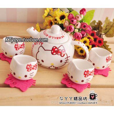 Hello Kitty 凯蒂猫 茶具 茶壶 杯子 陶瓷五件套 可爱随机发红色