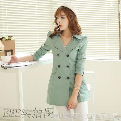 实拍2014风衣女新款秋装外套春秋中长款韩版女式风衣潮K242