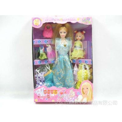供应2012A 芭比玩具礼品 芭比娃娃套盒6套衣服+小凯丽