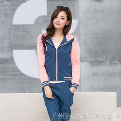 春秋新款少女装韩版中学生牛仔外套开衫卫衣套装女两件套