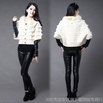 2014秋冬季新款女装时尚韩版针织宽松蝙蝠型短装外套批发