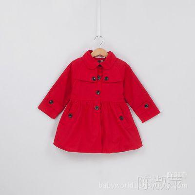 外贸童装秋冬款 韩版原单女童风衣 女童时尚风衣女童装冬装外套