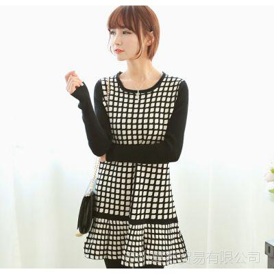 实拍2014韩版中长版可爱裙摆女装格子衫针织衫毛衣