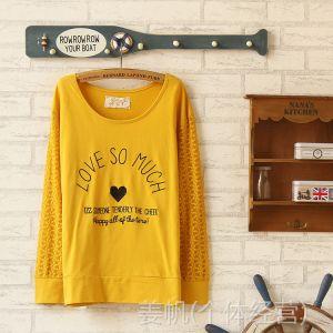 供应外贸新款 字母刺绣唯美打底衫 简约蕾丝镂空T恤 民族风