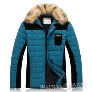 供应男装冬季新款 贵气灯芯绒超大毛领可脱卸羽绒棉棉衣男式棉服外套