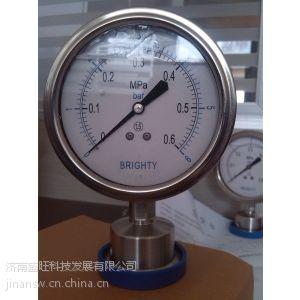 供应北京布莱迪YTNP-98HF6卡箍式卫生型隔膜压力表