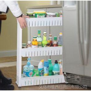 3层滑轮可移动缝隙收纳架厨房厕所用品夹缝整理柜间隙置物车B1800