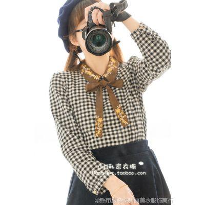 刺绣蝴蝶结系带方领长袖衬衫 森女 14新款女装批发8475