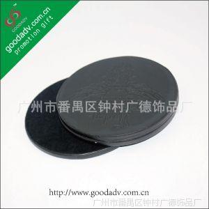 供应【广告促销】批发订做 广告皮革杯垫 纯黑色皮质杯垫