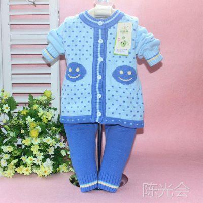 新款批发春季婴童毛衣套装 婴佳宜笑脸提花针织开衫两件套 1118