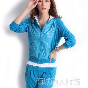供应2013春夏新款女装运动服 韩版休闲连帽开衫卫衣女士三件套装0469