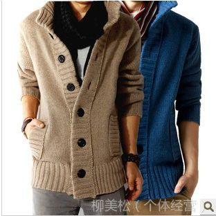 供应2014年秋冬款羊毛衫加厚羊绒衫男士毛衣春季男装 针织衫