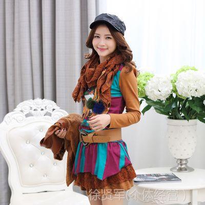 实拍2014秋冬新款秋装女装两件套套装韩版加厚长袖冬季连衣裙毛呢