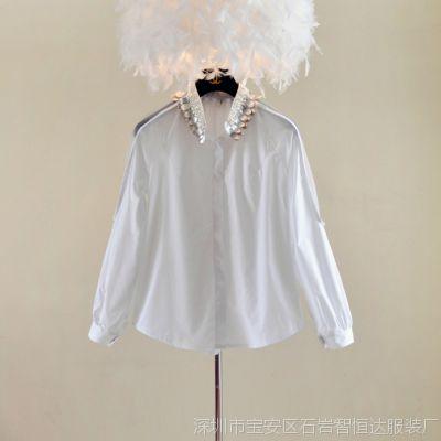 2014欧洲站时尚重工金叶钉珠立领小镂空公主袖白色衬衫女