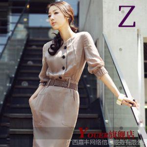 供应韩版女装职场办公亚麻修身显瘦长裙 五分袖夏季连衣裙6 1228