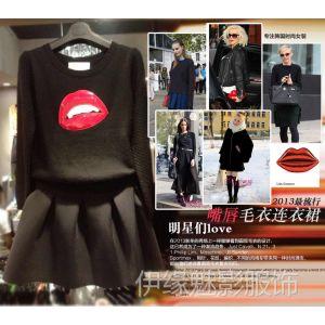 供应6734春装新款欧美大牌女装圆领长袖秋冬连衣裙两件套百褶裙