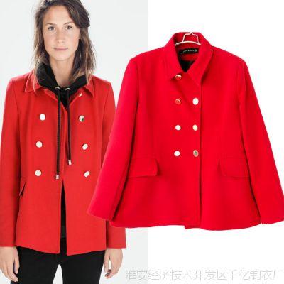 欧洲站大牌女装2014秋季ZAR*新款红色双排扣短款大衣外套批发风衣