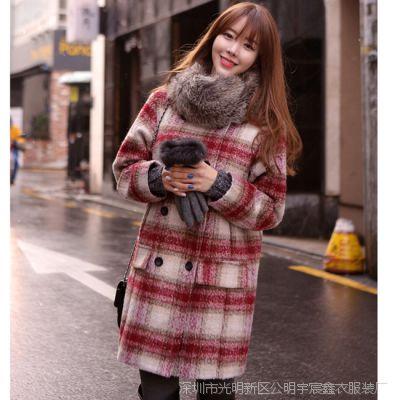 秋冬女装韩版红色格子渐变羊毛呢大衣中长款双排扣外套