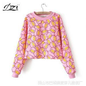 供应DZ 14春款新款韩版小鸭子图案圆领长袖卫衣加厚短款打底衫女