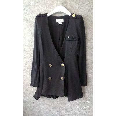 韩国进口东大门女装秋装现货naomi 双排扣垫肩加长修身西装