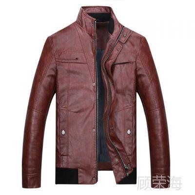 K069秋冬新款立领时尚皮夹克男式修身皮衣外套