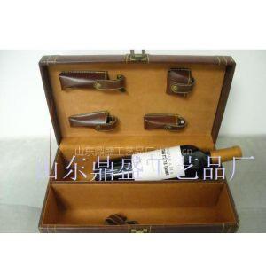 供应高档PU皮红酒礼盒定做批发红酒盒带酒具红酒皮盒棕色双支红皮盒