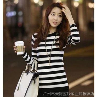 2014秋冬新款针织衫女装韩版条纹毛衣低领圆领女厚针织打底衫毛衣