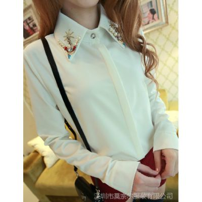 韩版领子领口镶钻烫钻钉珠白色衬衫长袖衬衣秋冬女百搭