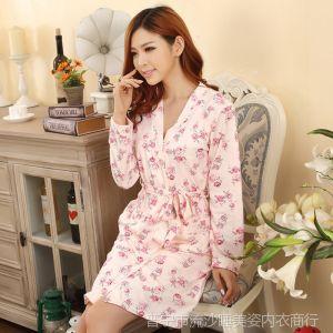 供应新款纯棉睡袍女士两件套睡衣套装春秋季吊带睡裙性感二件套家居服