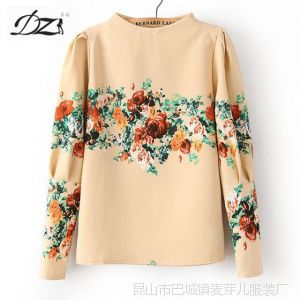 供应DZ 2013秋冬新款韩版女装打底衫 洋气花朵印花图案上衣女