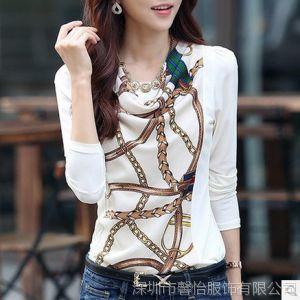 供应2014春装新款女装t恤女长袖韩版修身雪纺上衣打底衫印花大码小衫