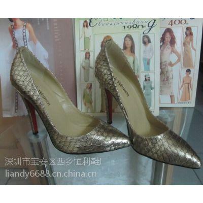 广州鞋厂来图片定做加工女鞋 真皮时装高跟鞋 四季秋装尖头女单鞋