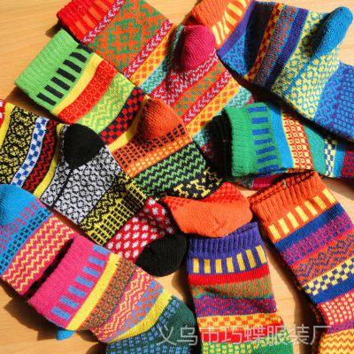 日本外单复古民族风情侣袜古法粗线针织纯棉袜男女袜子原宿袜子