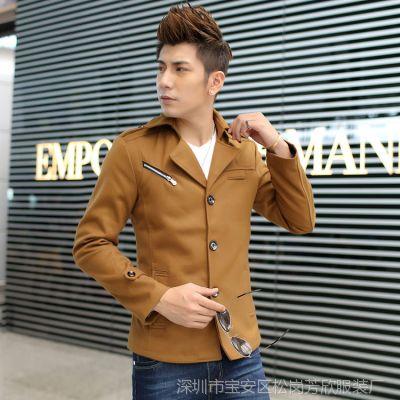 2014秋冬装新款男式风衣中长款韩版潮修身男装外套