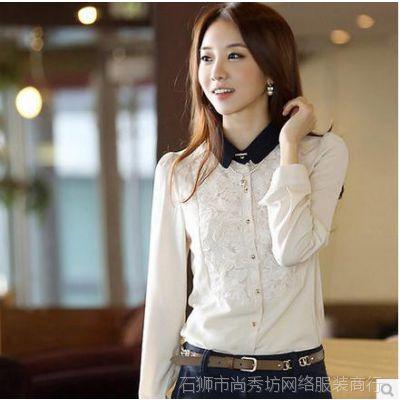 2014秋装长袖衬衫女款韩版修身黑色绣花蕾丝衫女式雪纺衫新款上装