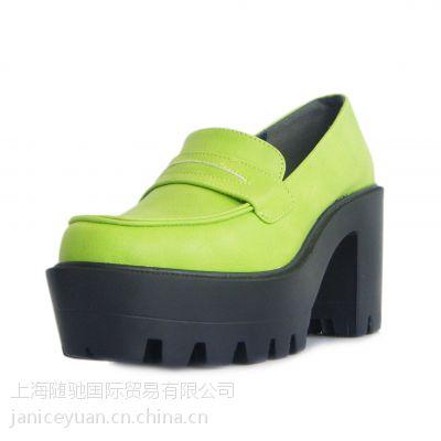 款潮单鞋 秋冬季款女鞋欧洲站粗高跟鞋 女士鞋 外贸出口