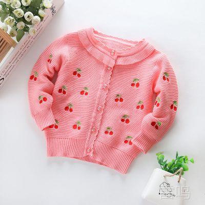 厂家直供婴童春装毛衣 樱桃刺绣女童开衫毛衣